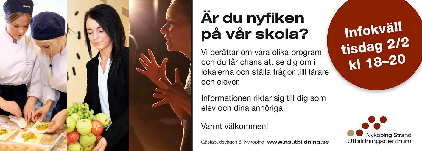 Infokväll 2 februari på Nyköping Strand Utbildningscentrum