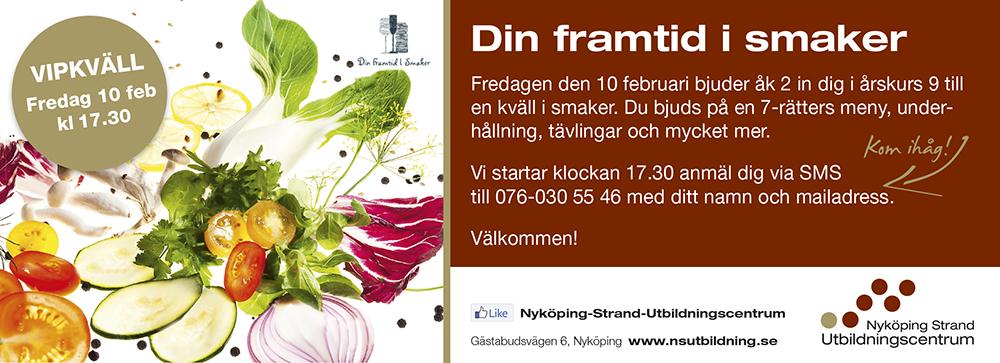 Fredag den 10 februari bjuder några elever i årkurs 2 in dig för en helkväll i smaker.